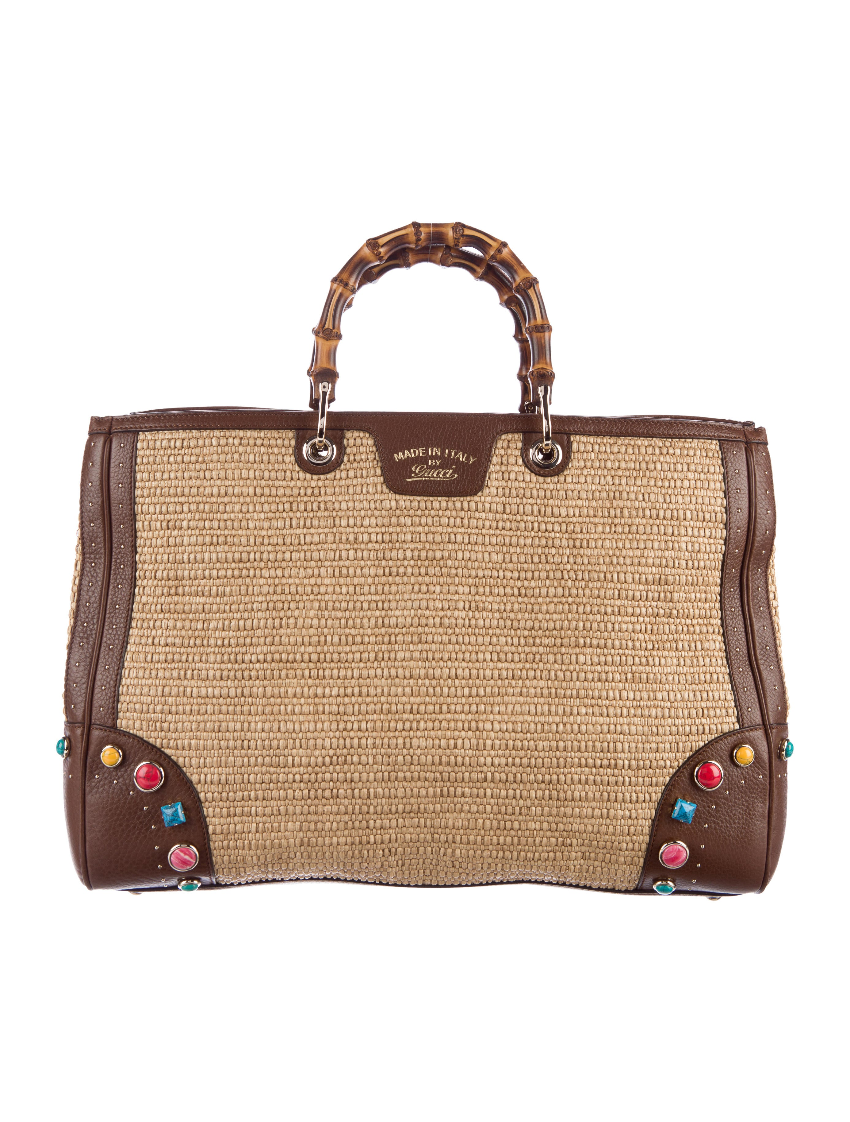 gucci bamboo shopper tote handbags guc129460 the realreal. Black Bedroom Furniture Sets. Home Design Ideas