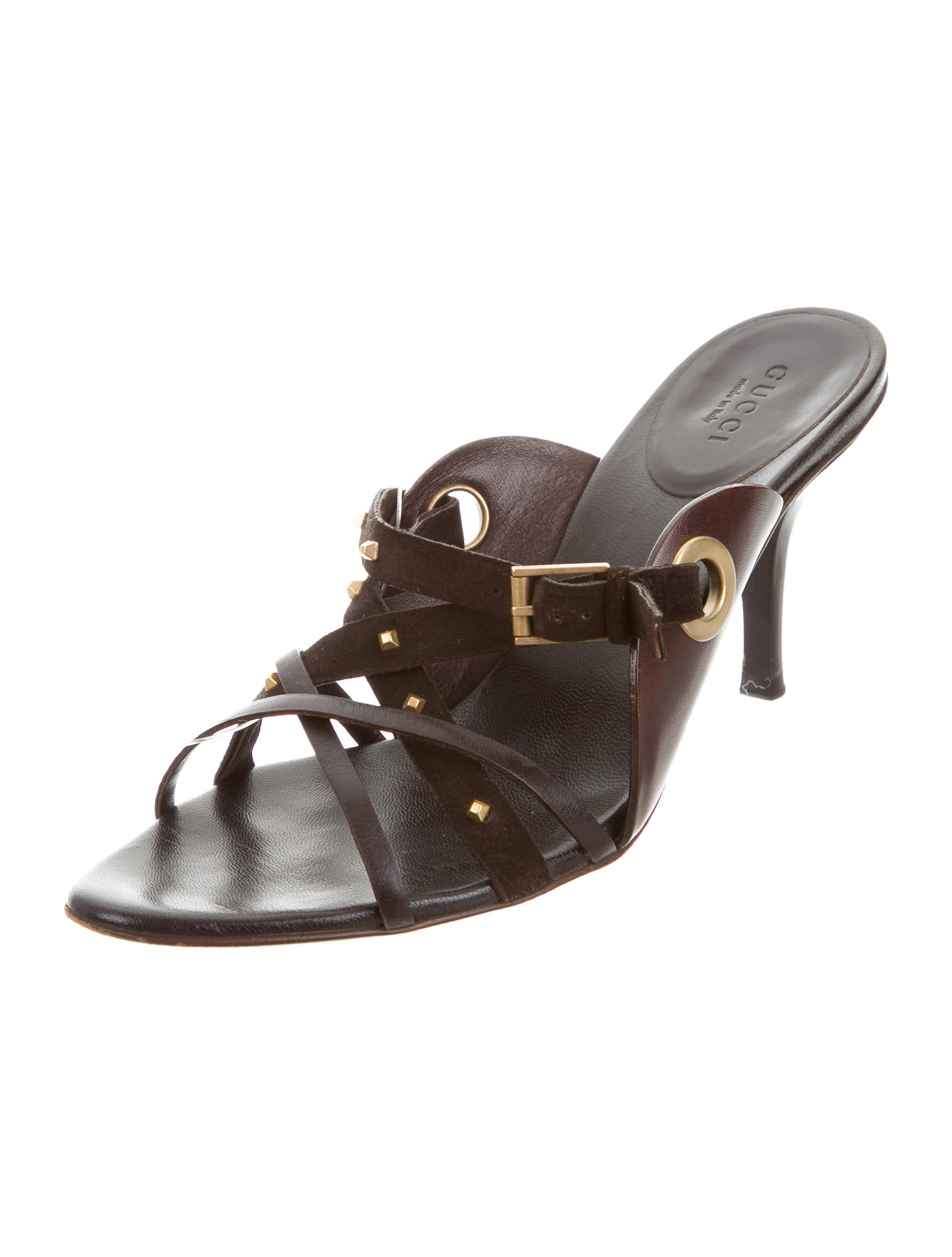 Gucci Leather Slide Sandals - Shoes - GUC129718 | The RealReal