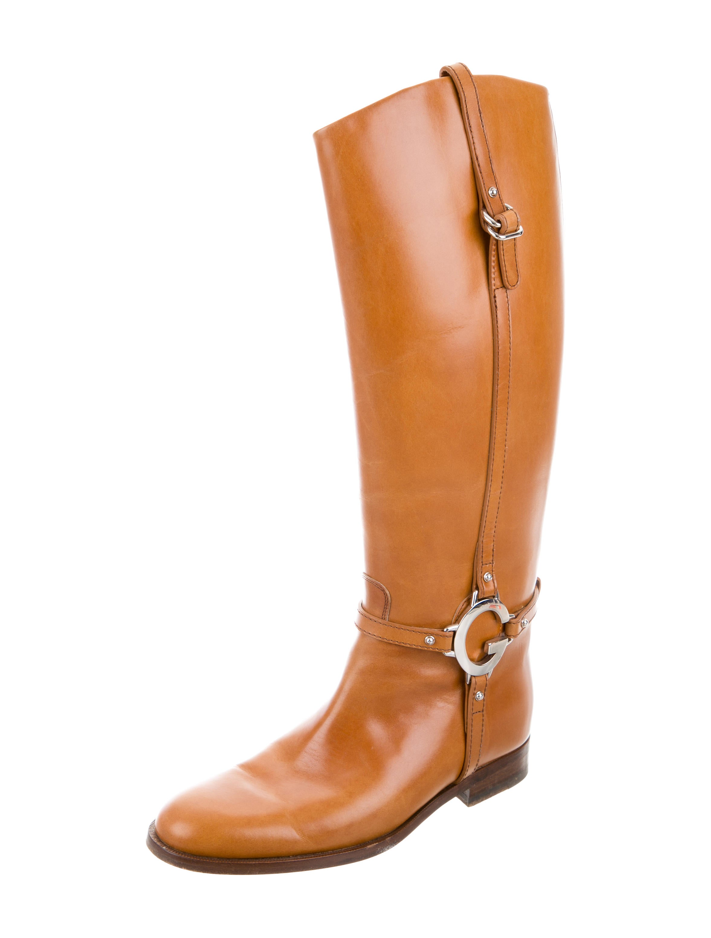 Gucci Logo Embellished Riding Boots Shoes Guc130220