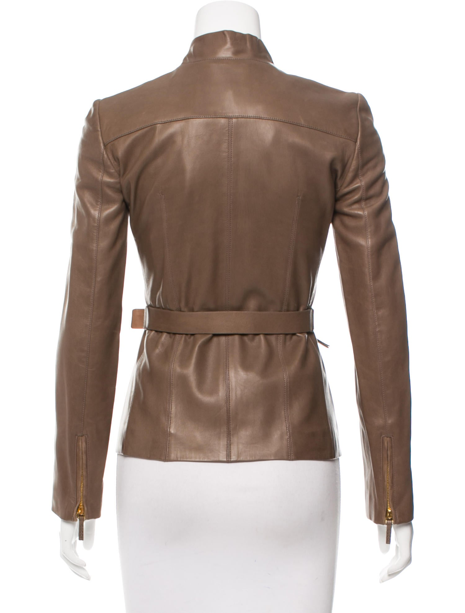 gucci leather belted jacket clothing guc130397 the