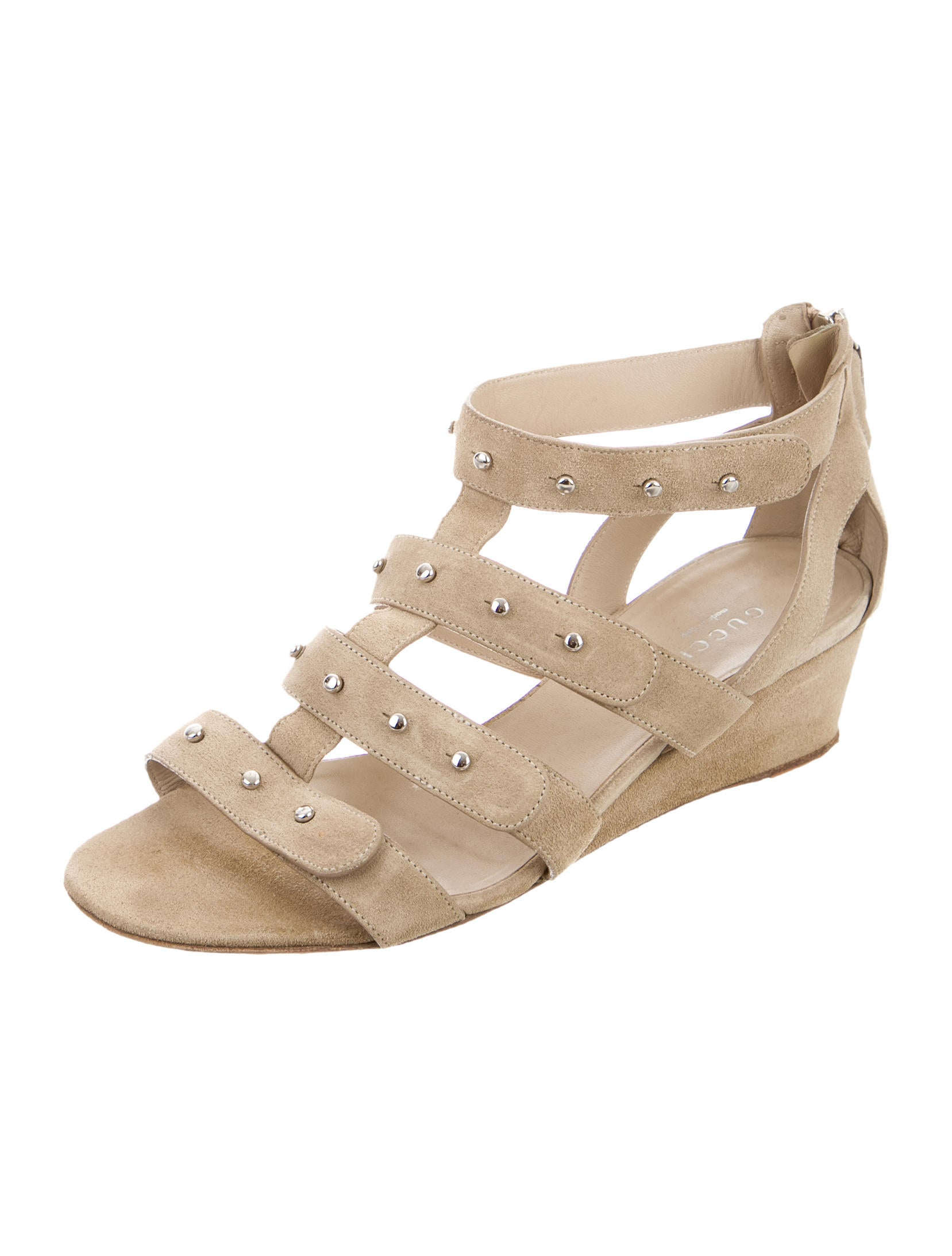 gucci studded wedge sandals shoes guc131464 the realreal