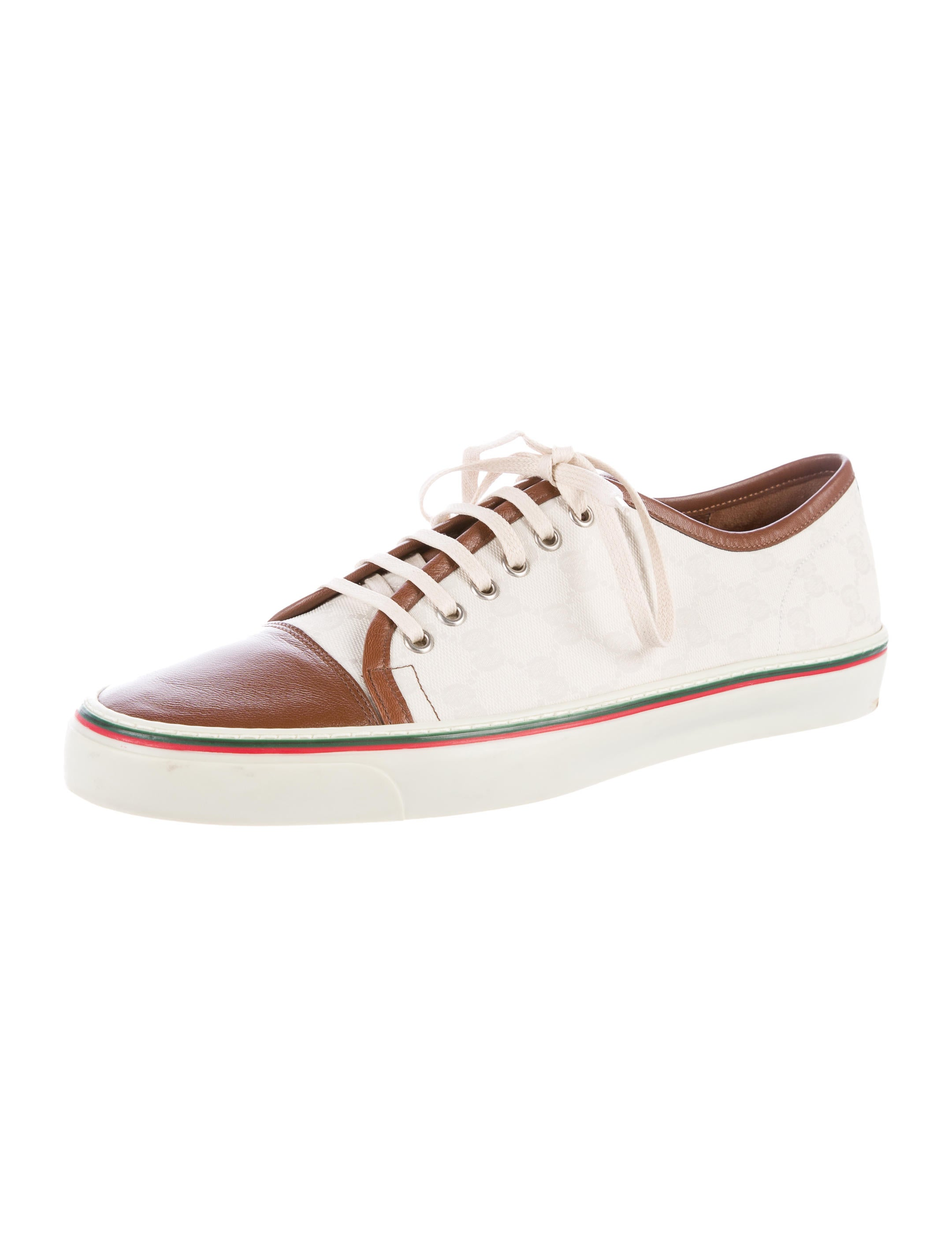 gucci leather trimmed gg canvas sneakers w tags shoes