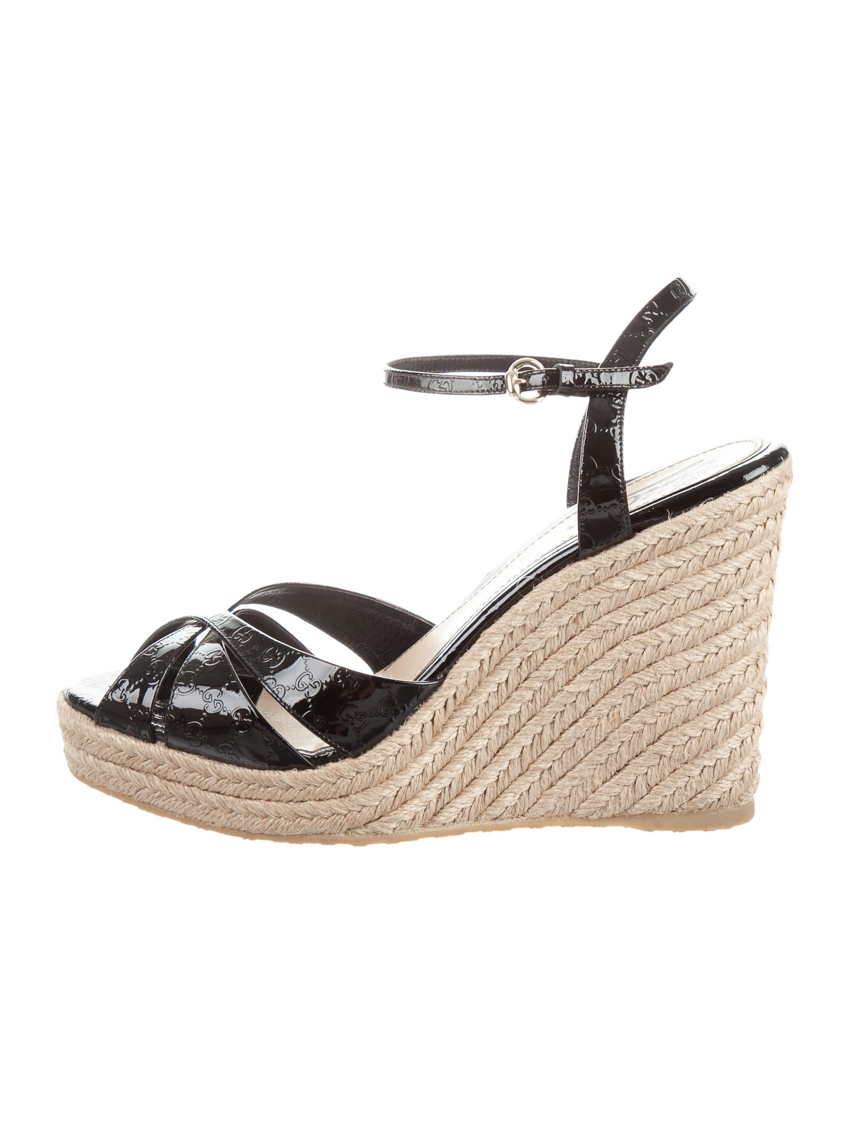 gucci gg espadrille wedges shoes guc131597 the realreal