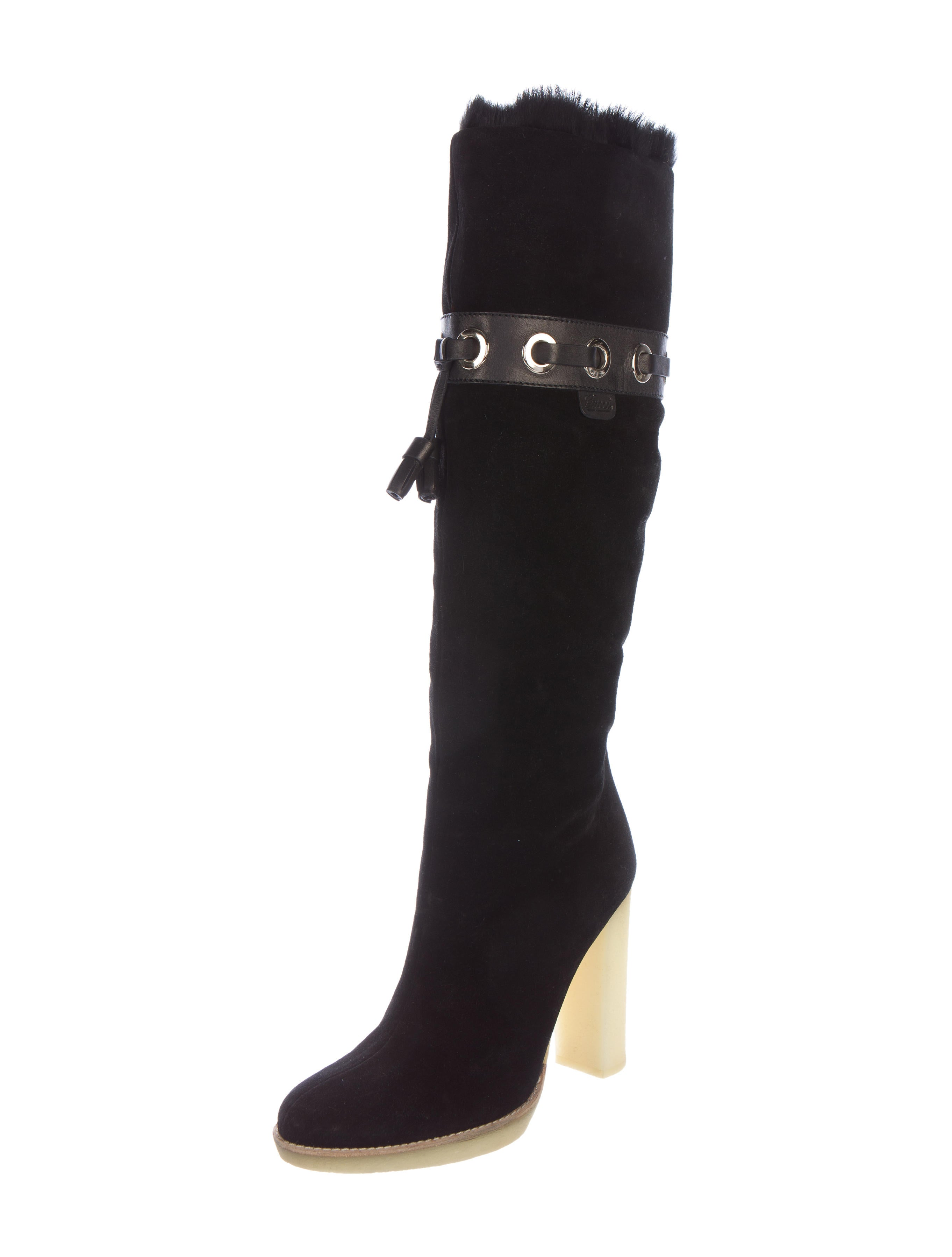 gucci suede knee high boots shoes guc132515 the realreal