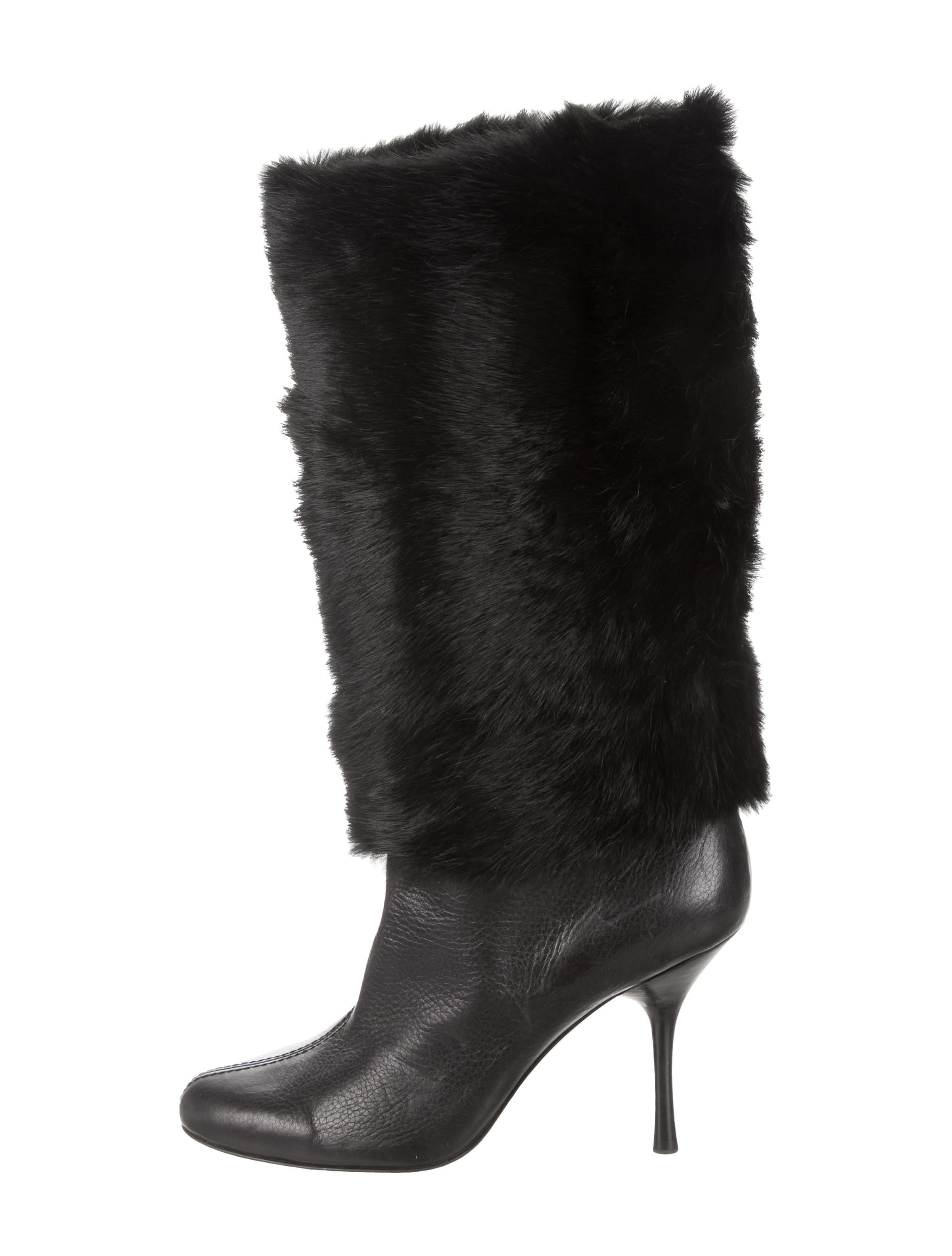 gucci fur trimmed leather boots shoes guc132681 the