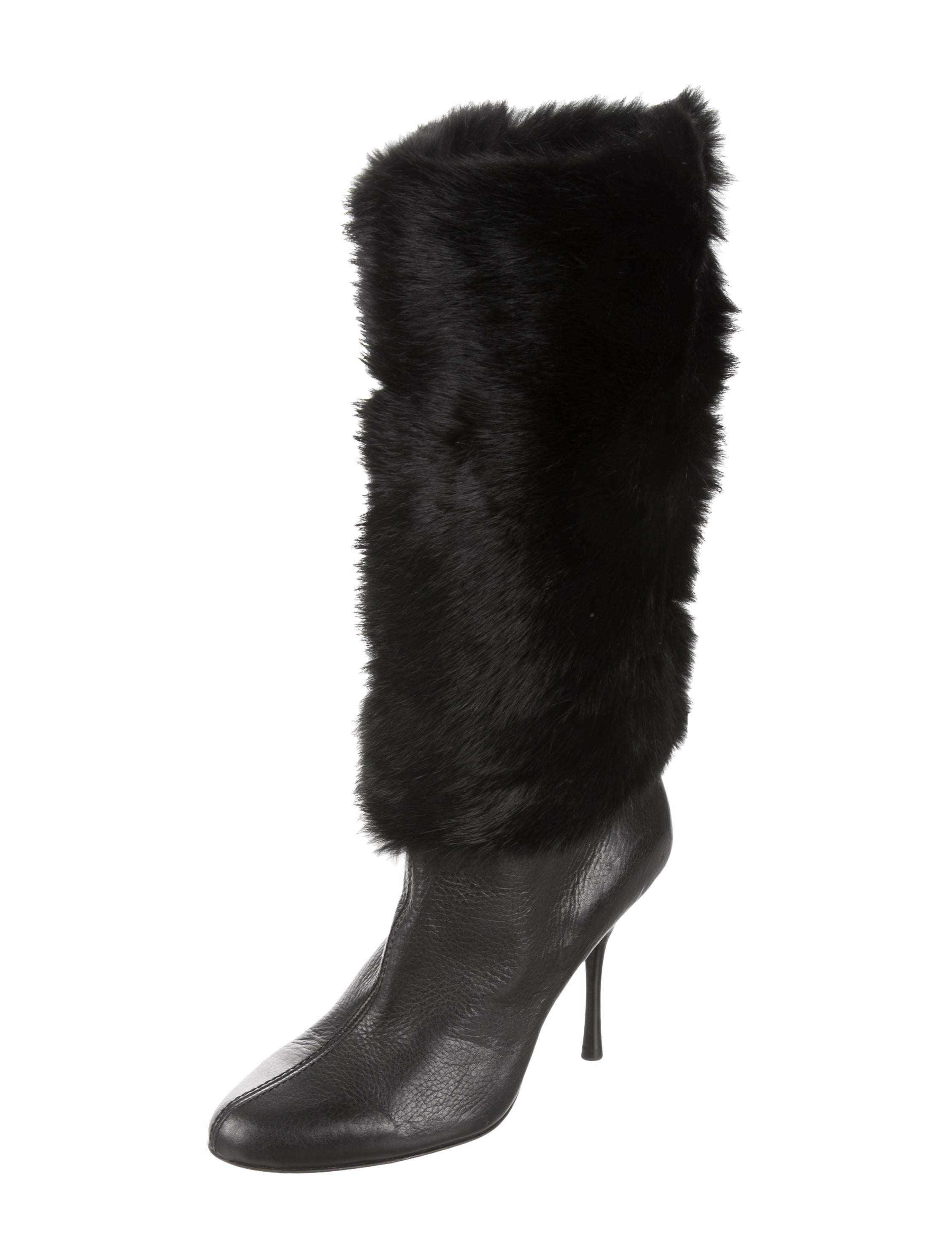 7dee64e8bc5 Gucci Fur-Trimmed Leather Boots - Shoes - GUC132681