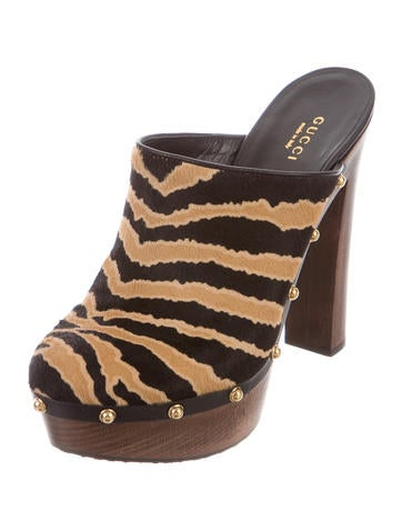 Tiger Ponyhair Clogs