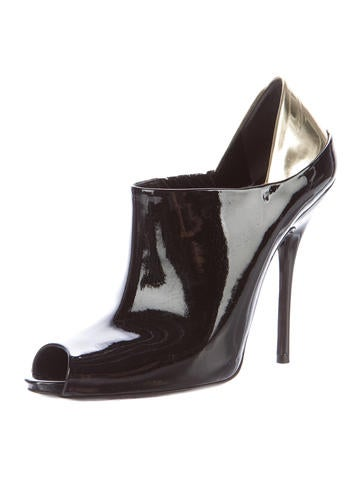 Patent Leather Peep-Toe Booties