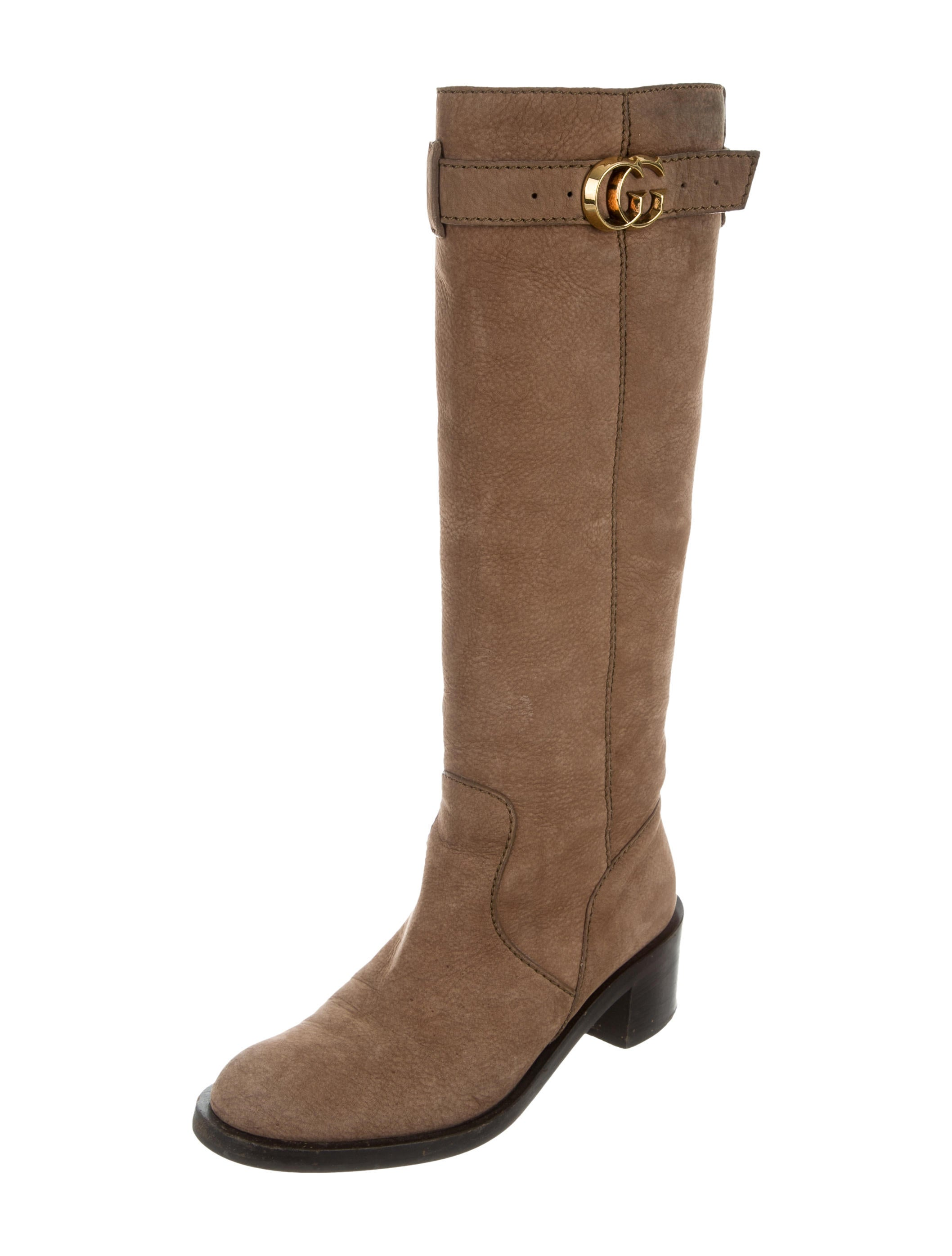 gucci suede knee high boots shoes guc133796 the realreal