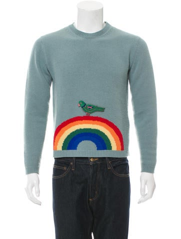 Gucci Wool Bird and Rainbow Sweater None