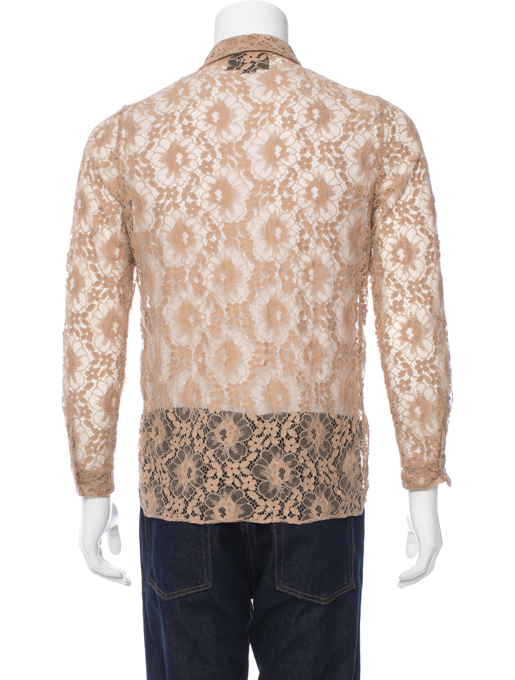 Gucci floral embroidered lace shirt clothing