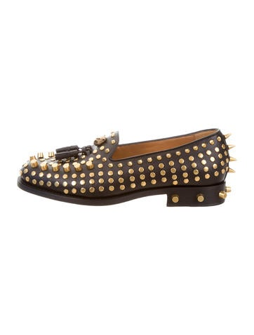 2017 Sagan Studded Leather Loafers