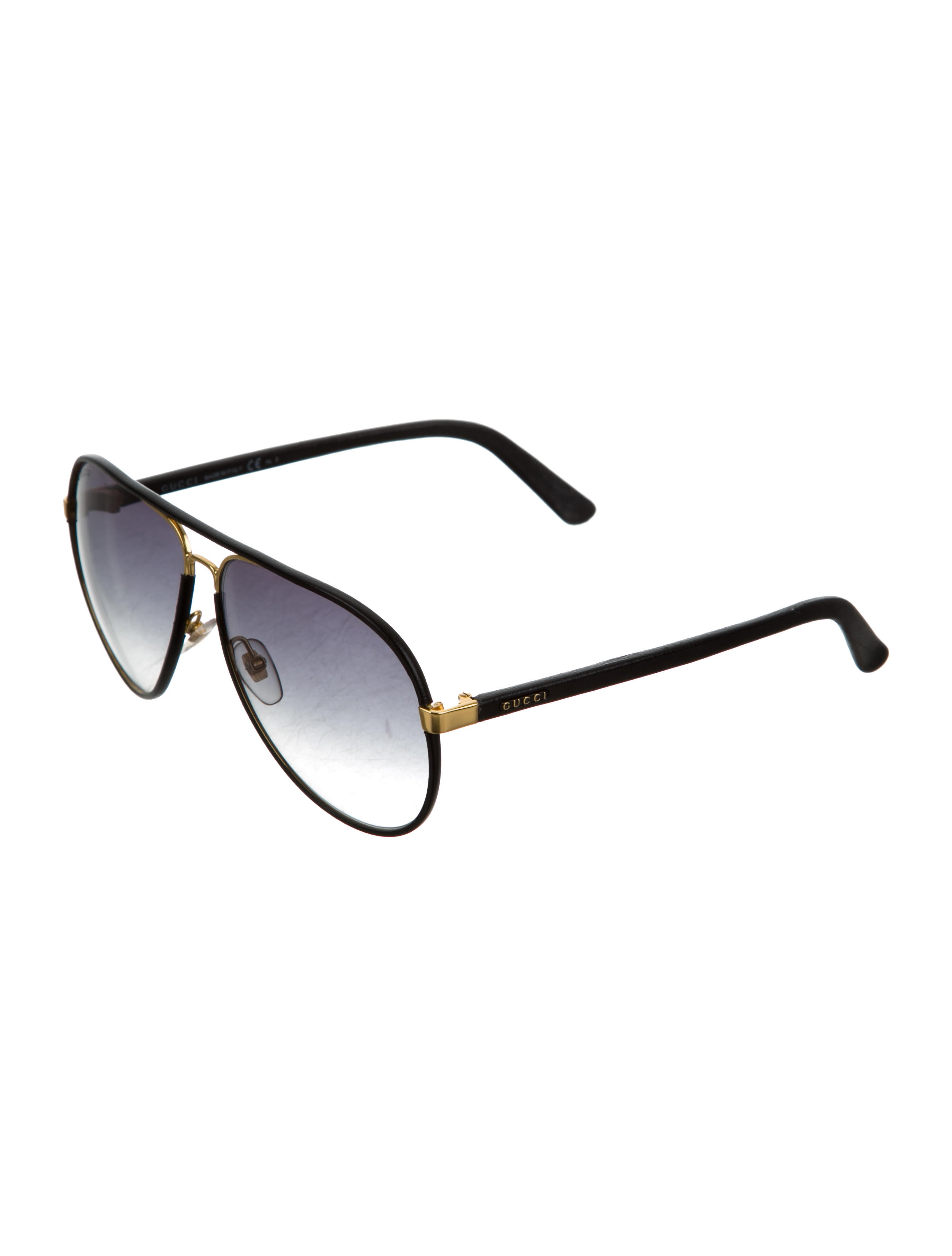 Gucci Sunglasses Leather Frame Aviator : Gucci Logo Aviator Sunglasses - Accessories - GUC135086 ...