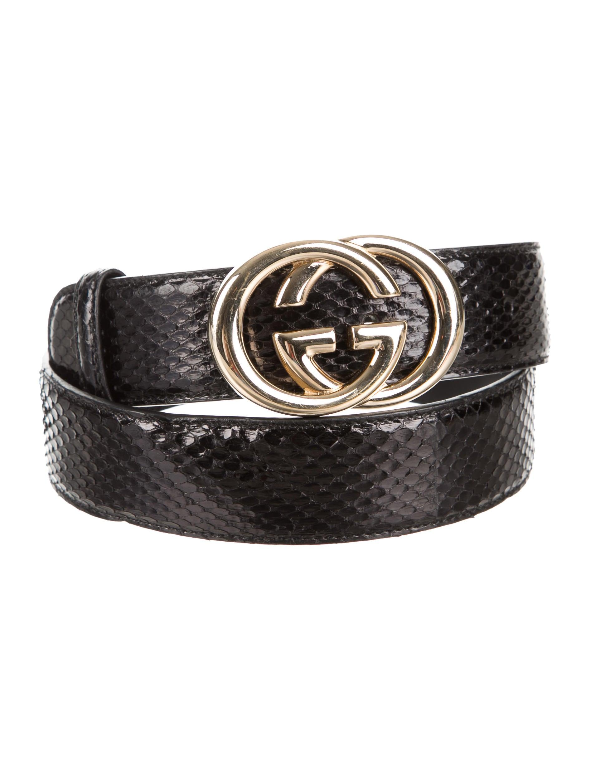 Gucci Snakeskin Interlocking Gg Belt Accessories