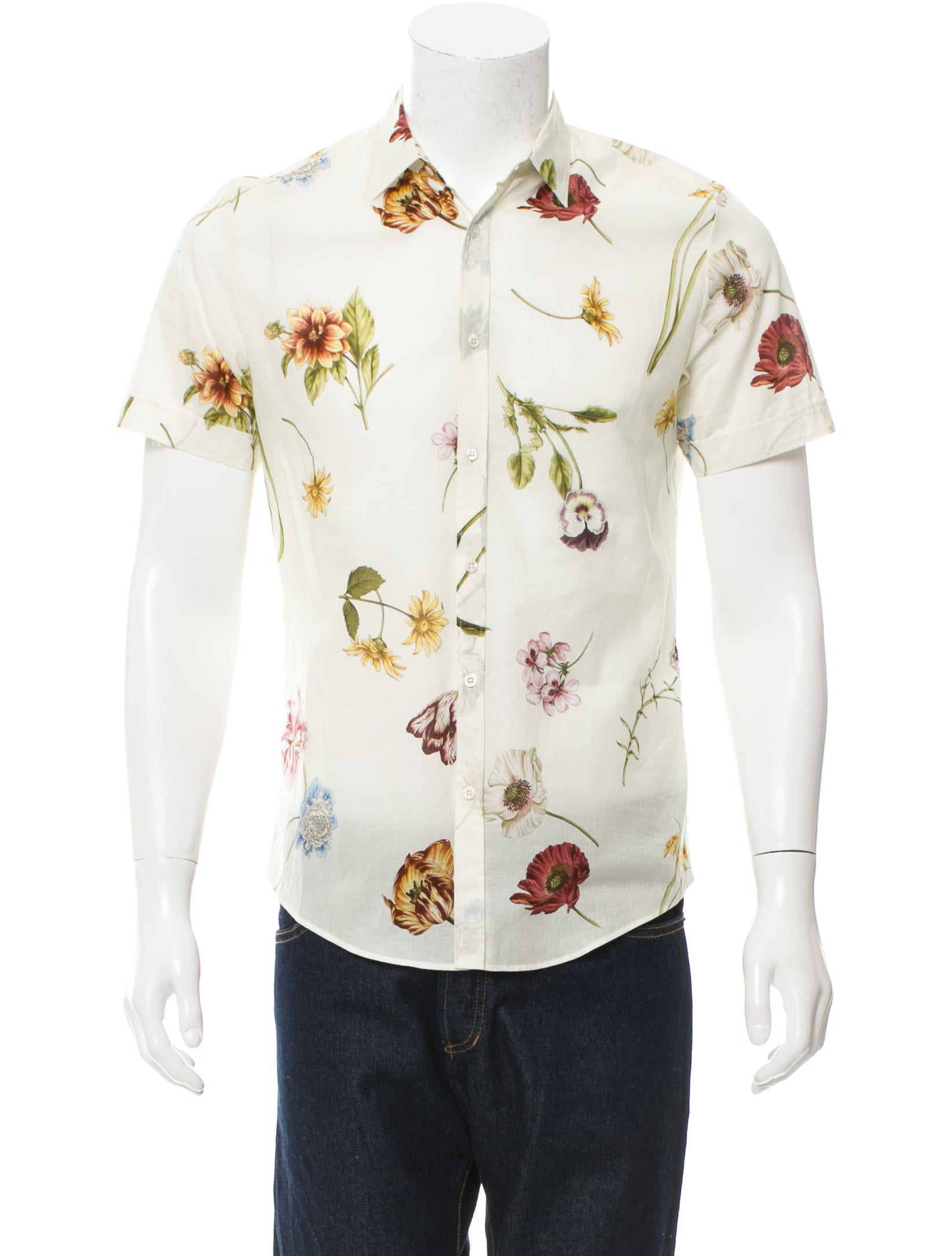 Gucci floral print button up shirt clothing guc136352 for Floral print button up shirt