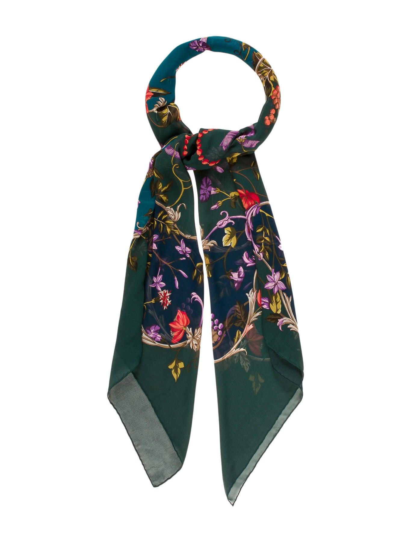 gucci printed chiffon scarf accessories guc137889