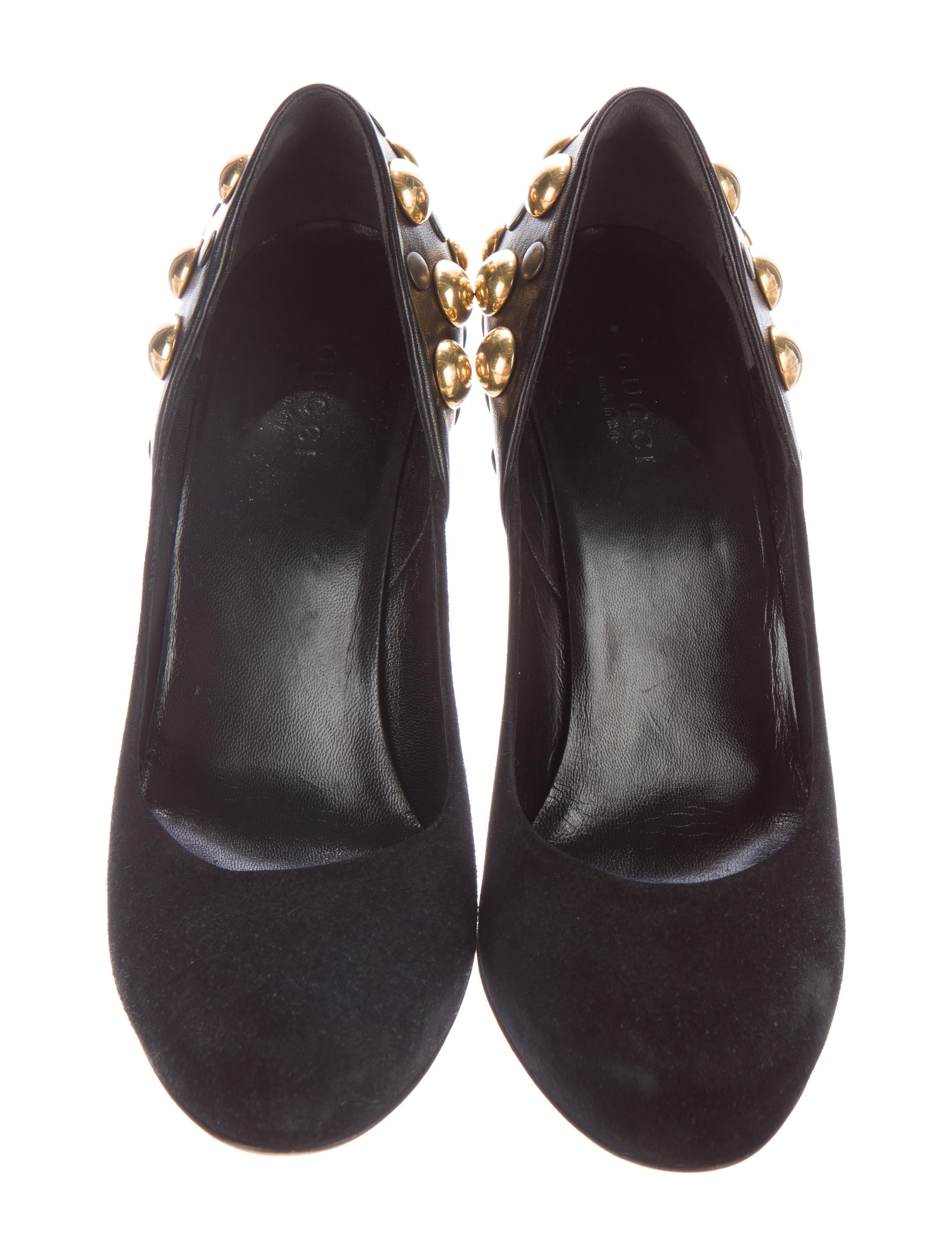 gucci studded suede pumps shoes guc138001 the realreal