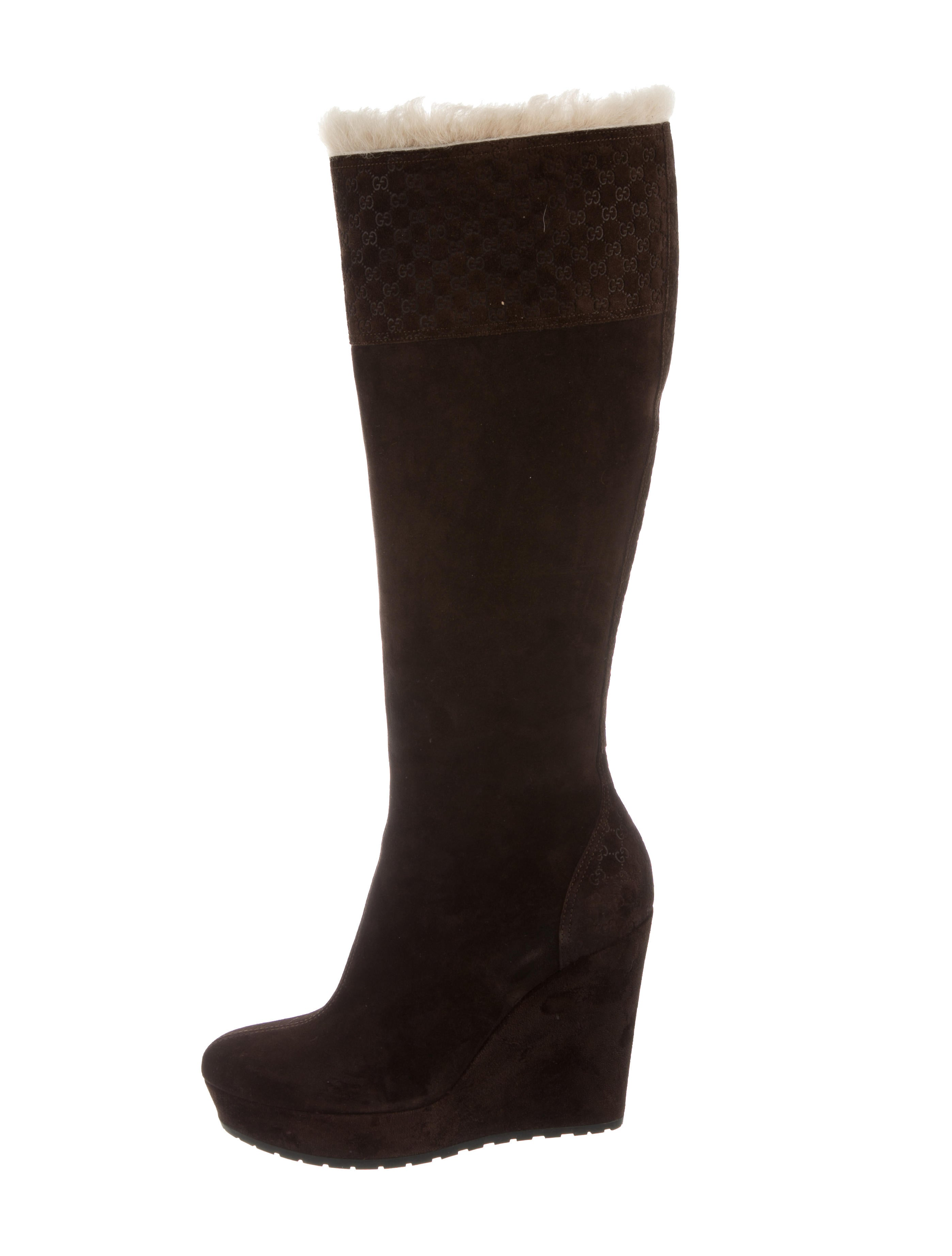 gucci shearling wedge boots shoes guc138036 the realreal