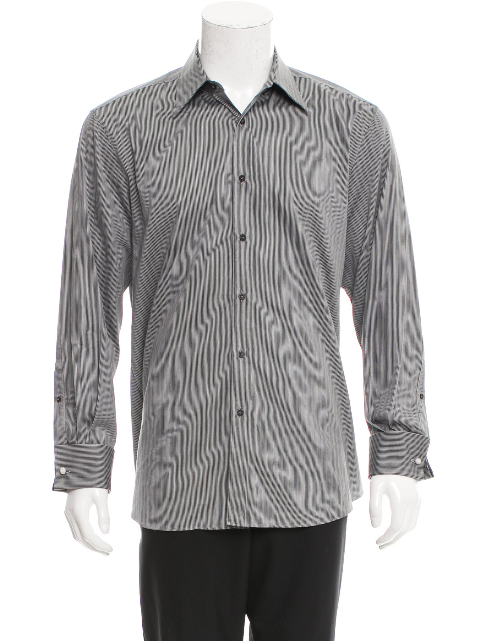 Gucci striped button up shirt clothing guc138423 the for Striped button up shirt mens