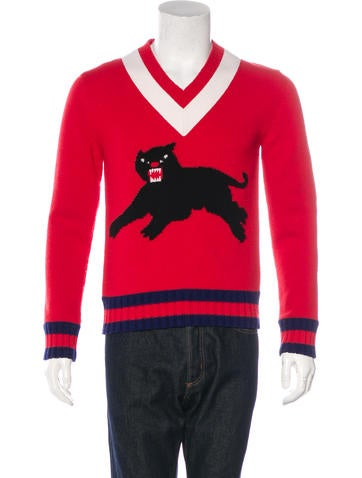 Gucci 2017 Panther Wool Intarsia Sweater None