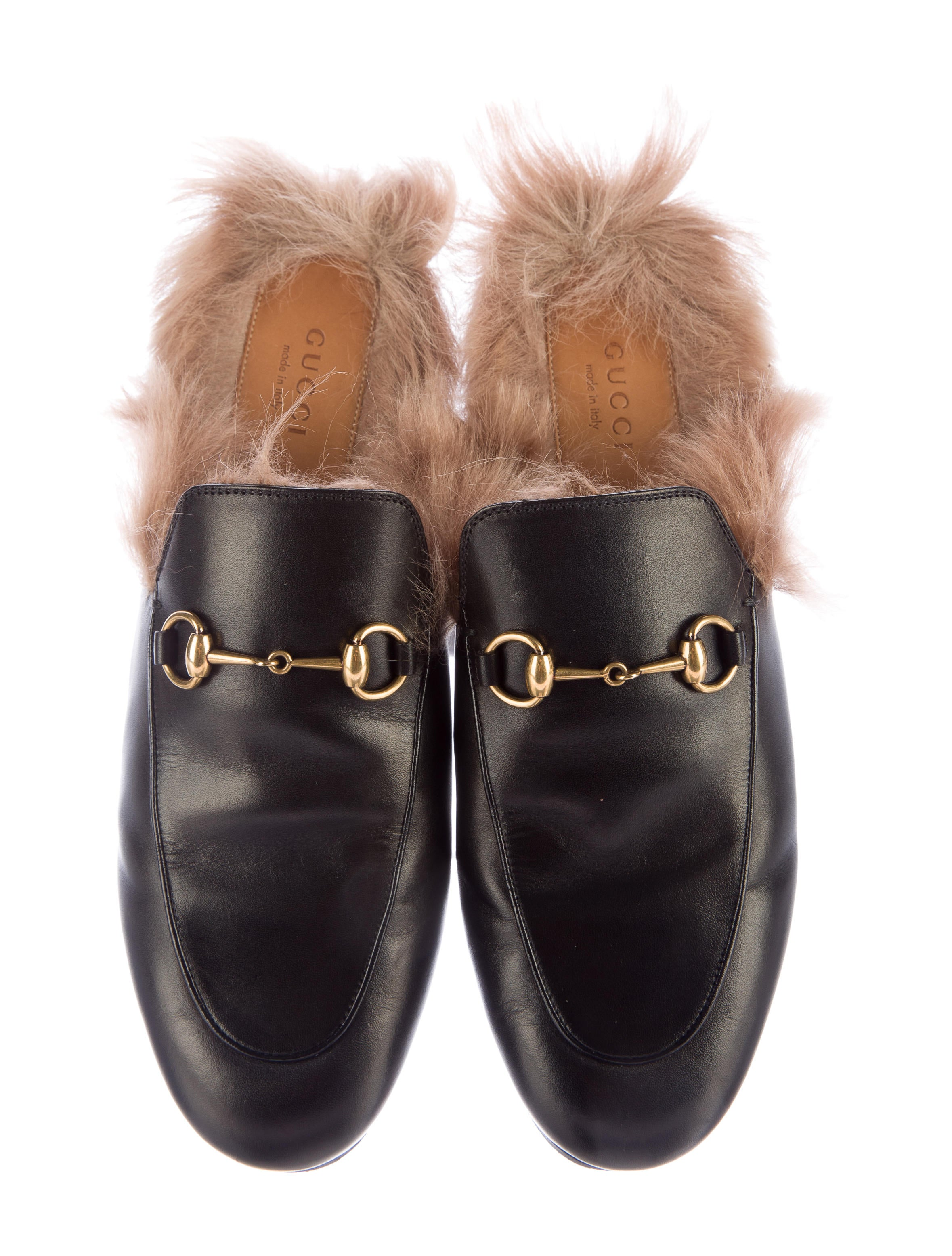 Gucci Kangaroo Fur Trimmed Princetown Slippers Shoes