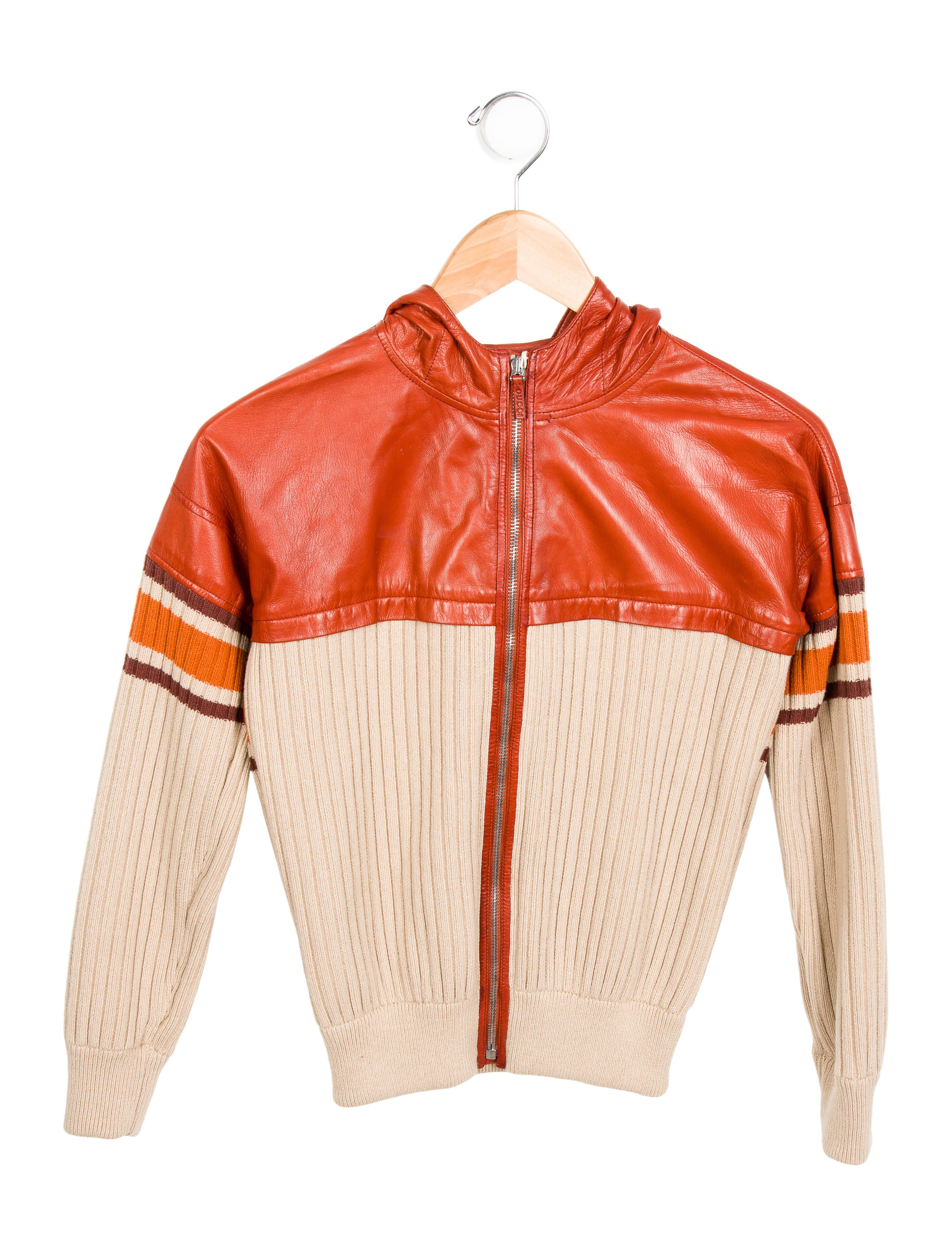 Knitting Jacket For Boy : Gucci boys leather paneled knit jacket guc