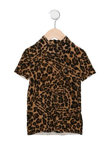 Gucci Girls' Leopard Print Wool Top None