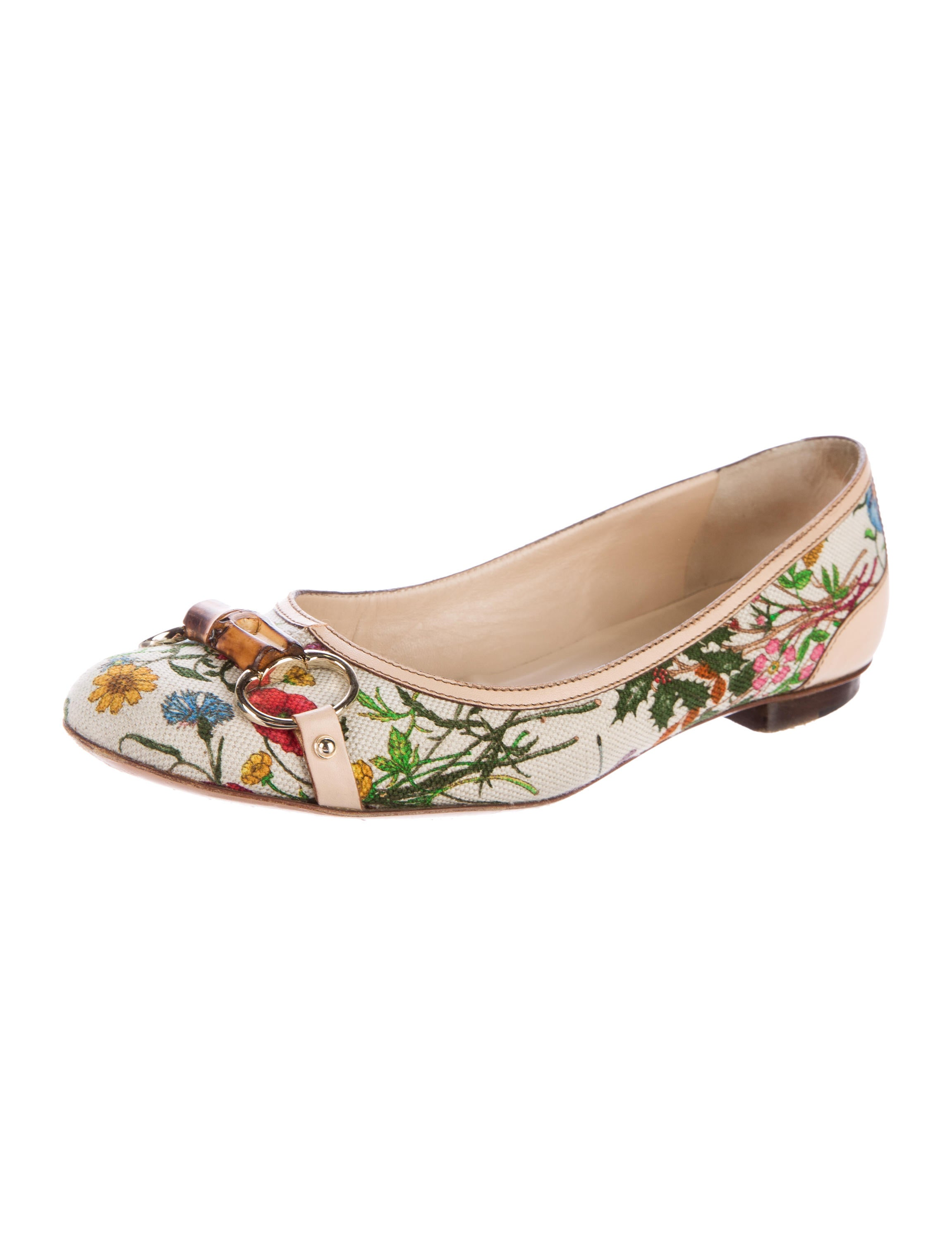 gucci flora horsebit flats - shoes