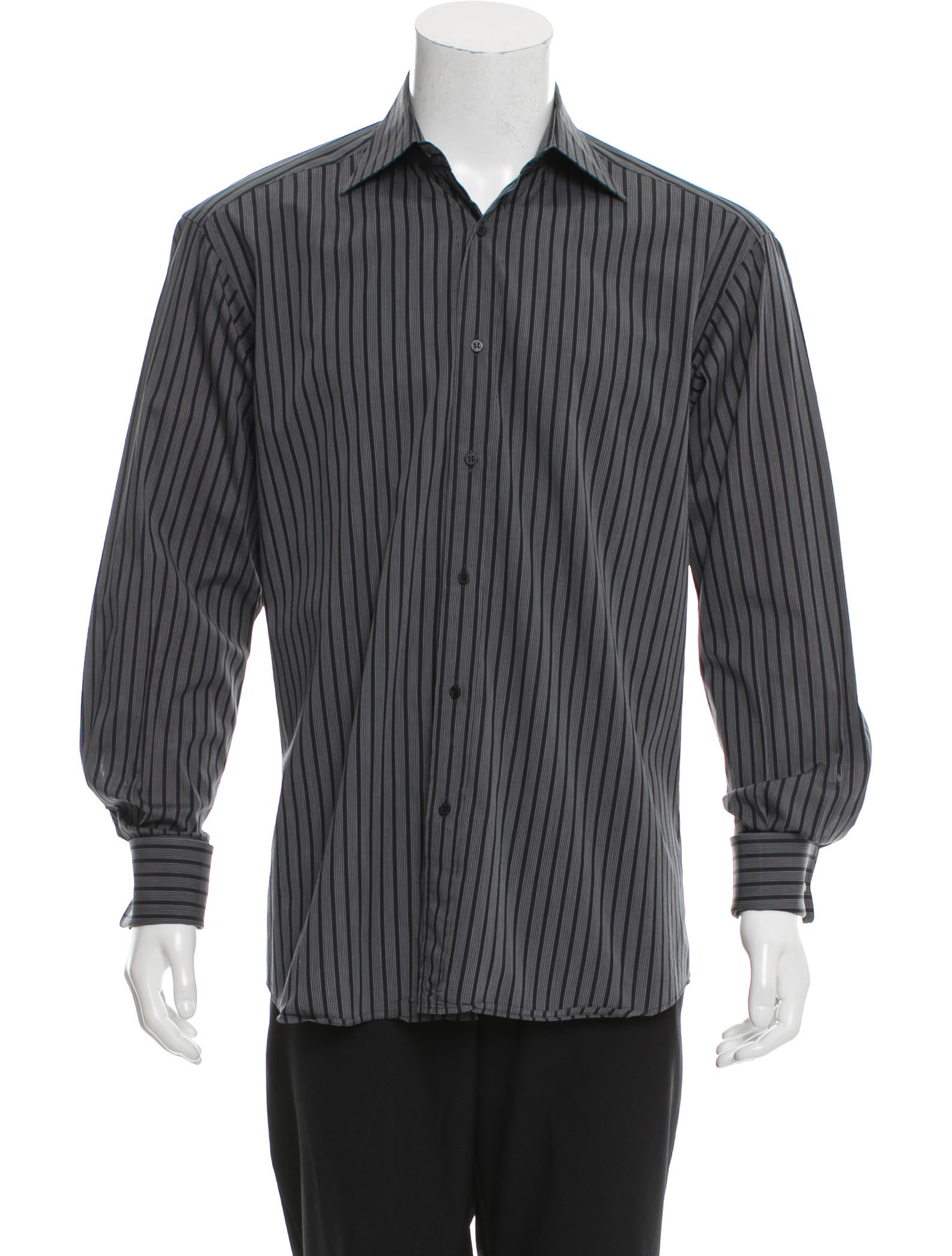 Gucci striped button up shirt clothing guc141386 the for Striped button up shirt mens