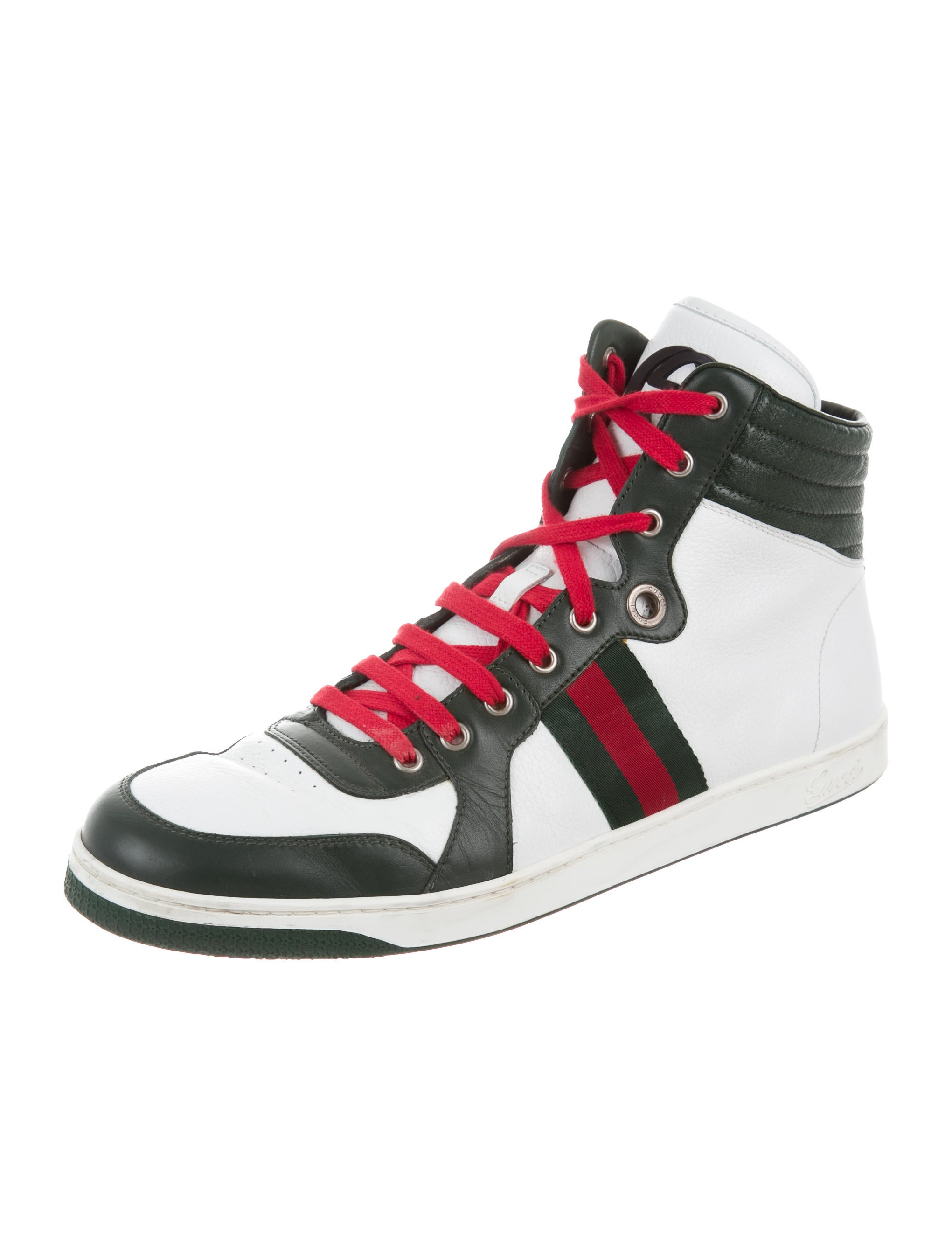 gucci high top web sneakers shoes guc141721 the realreal. Black Bedroom Furniture Sets. Home Design Ideas
