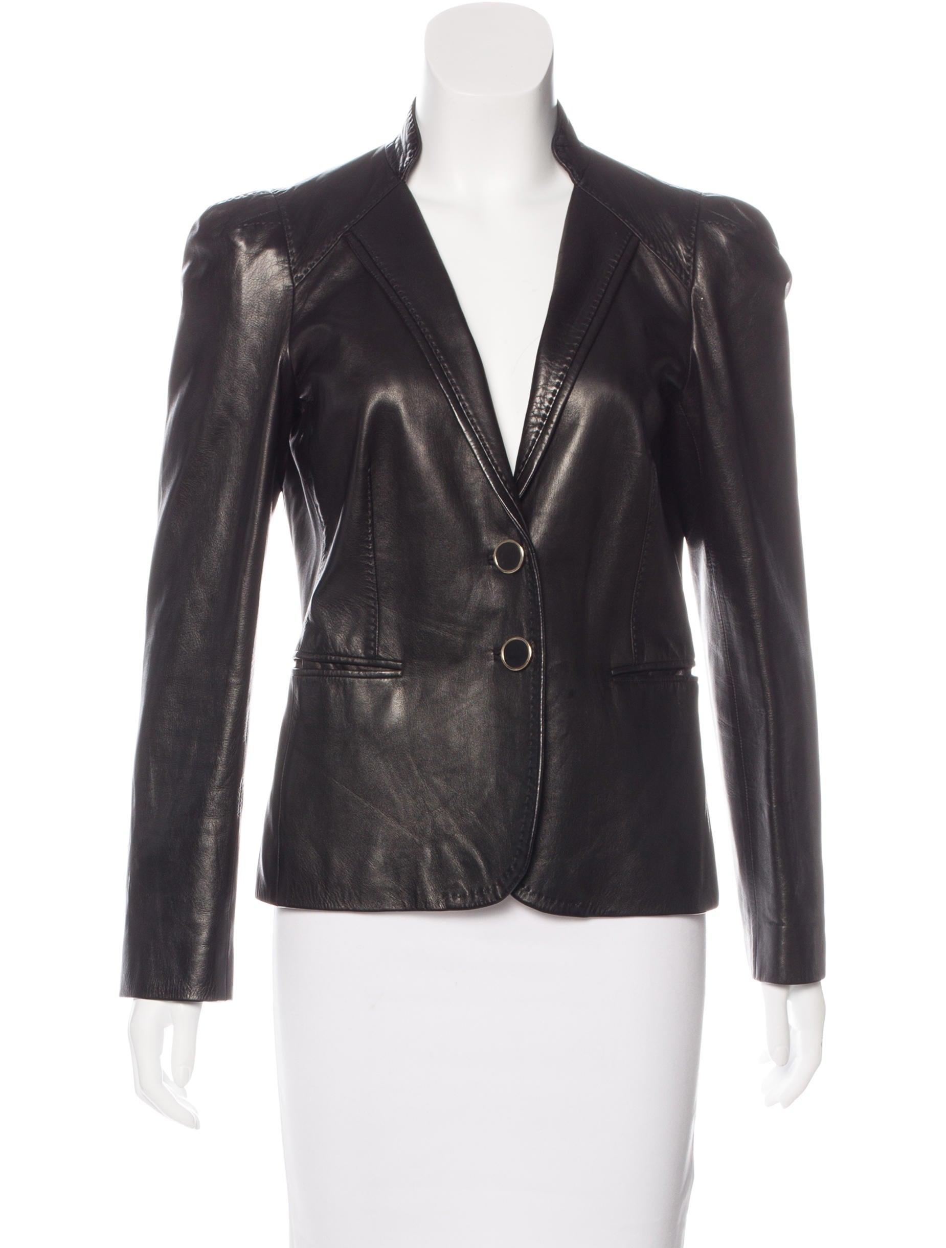 Gucci Leather Long Sleeve Jacket - Clothing