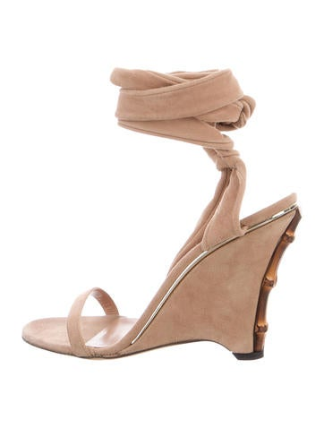 Gucci Suede Wedge Sandals None