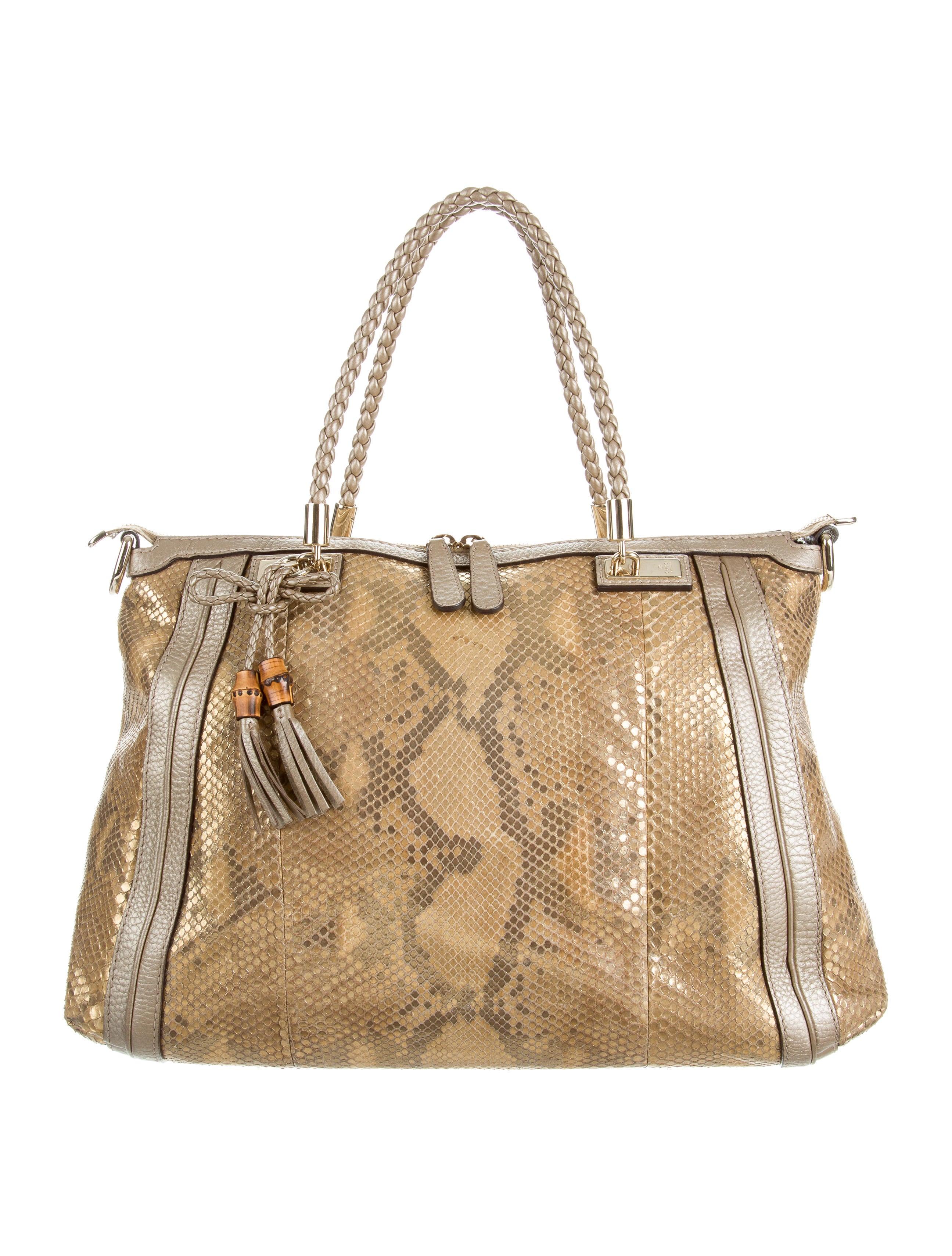 ab2995aaec4 Gucci Python Bella Top Handle Bag - Handbags - GUC150840