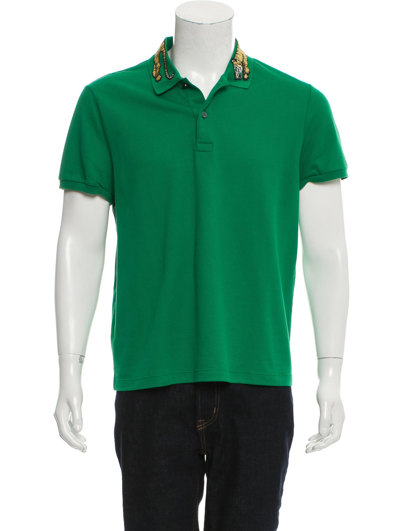 Gucci tiger embroidered polo shirt clothing guc151554 for Polo shirts with embroidery