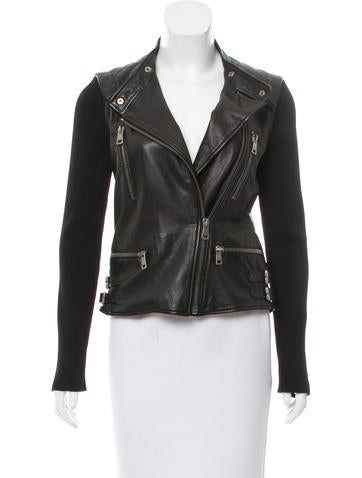 Gucci Rib Knit-Accented Leather Jacket None
