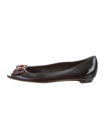Gucci Horsebit Peep-Toe Flats None