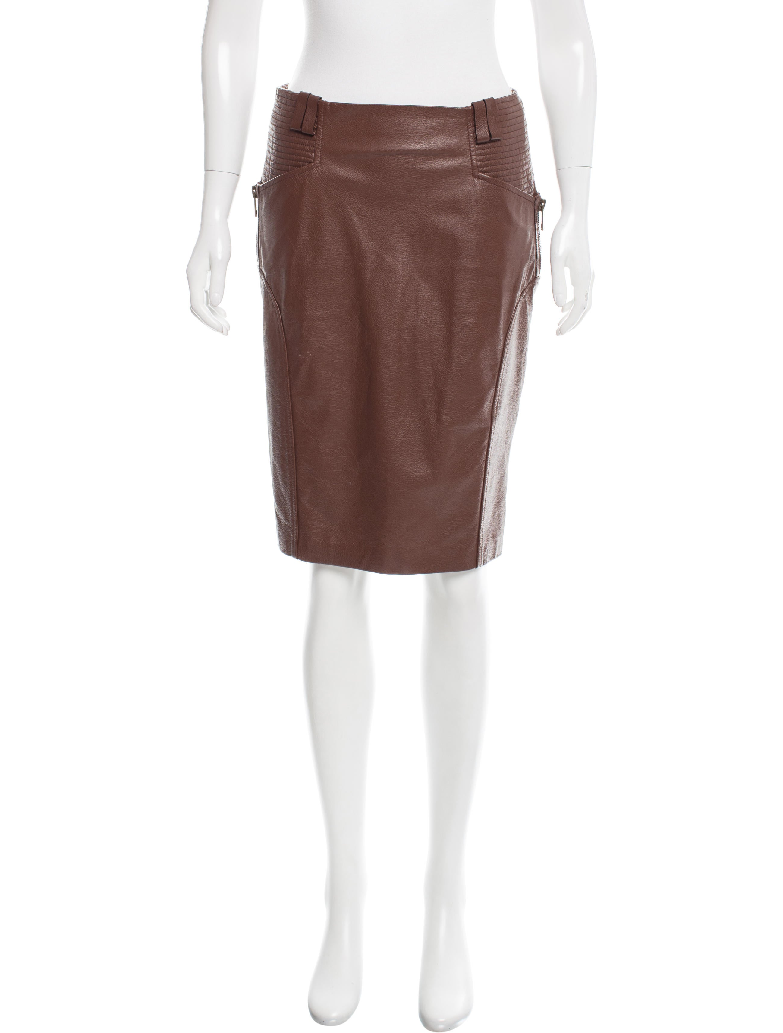gucci leather knee length skirt clothing guc152504