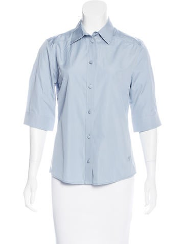 Gucci Three-Quarter Sleeve Button-Up Top None