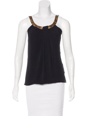 Gucci Leather-Trimmed Silk Top None