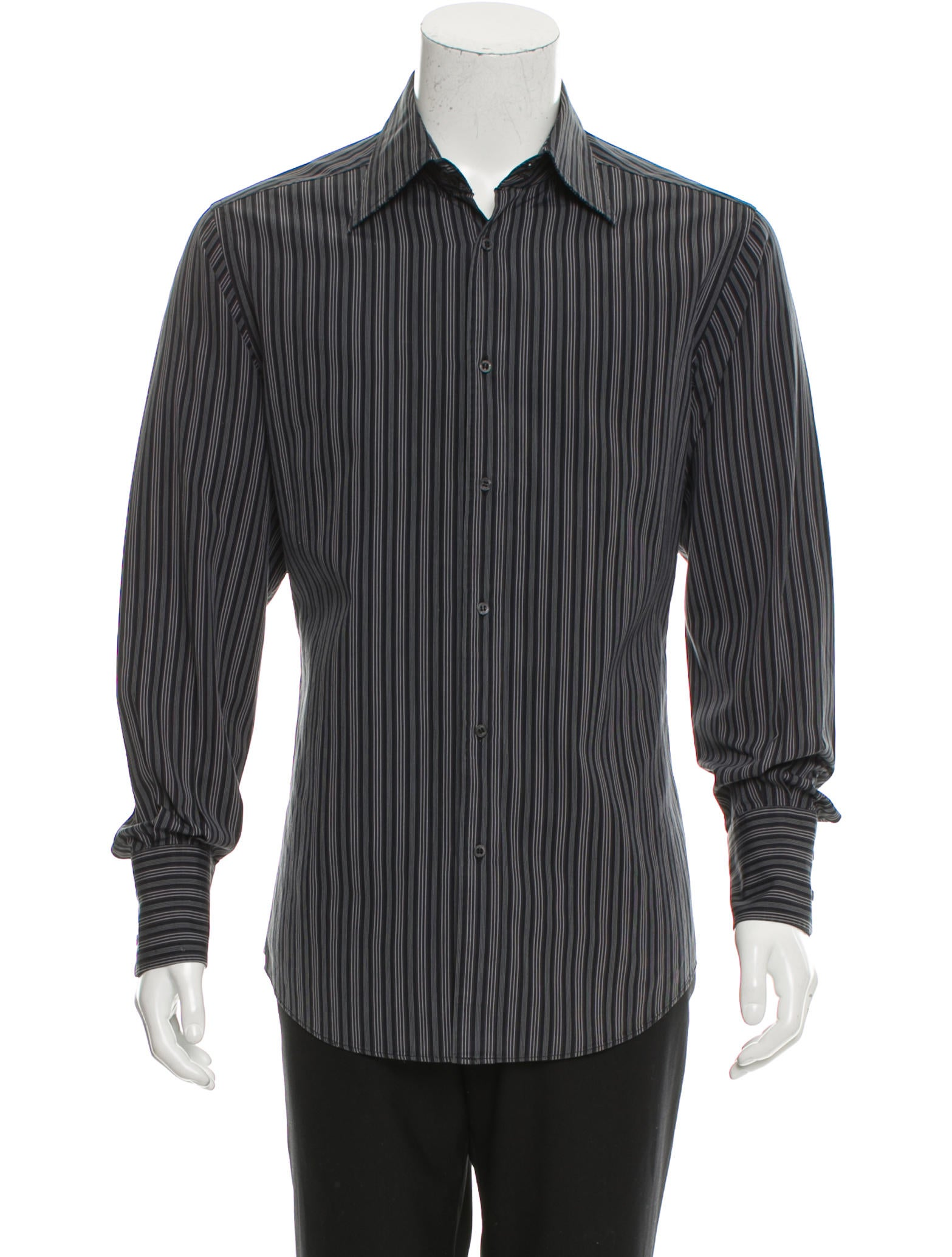 Gucci striped button up shirt clothing guc152851 the for Striped button up shirt mens