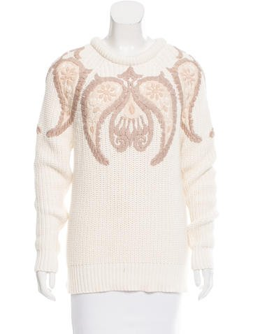 Gucci Embroidered Rib Knit Sweater None