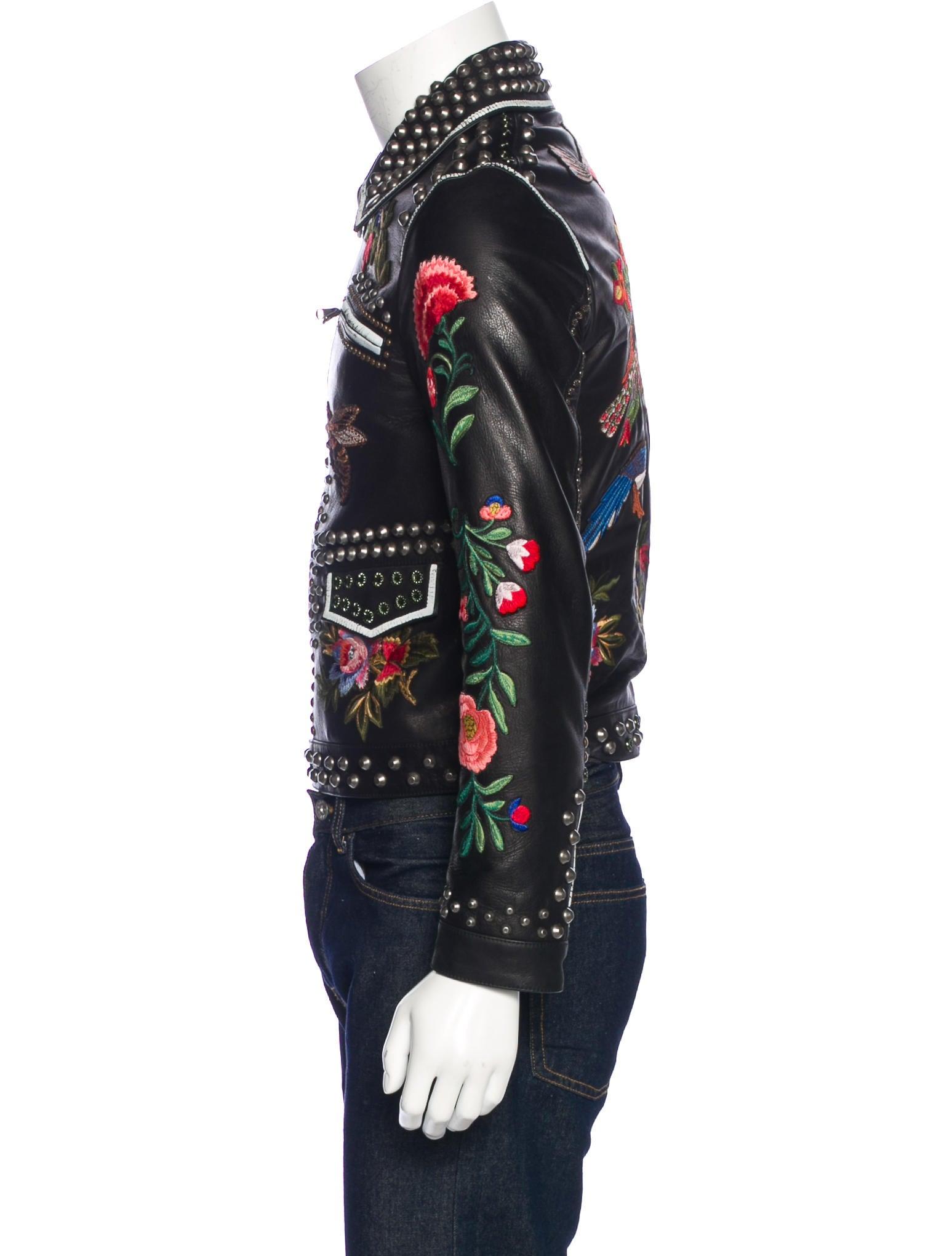 Gucci Bird-Embroidered Leather Baseball Jacket - Coats - 505700101