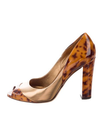Gucci Tortoiseshell Peep-Toe Pumps None