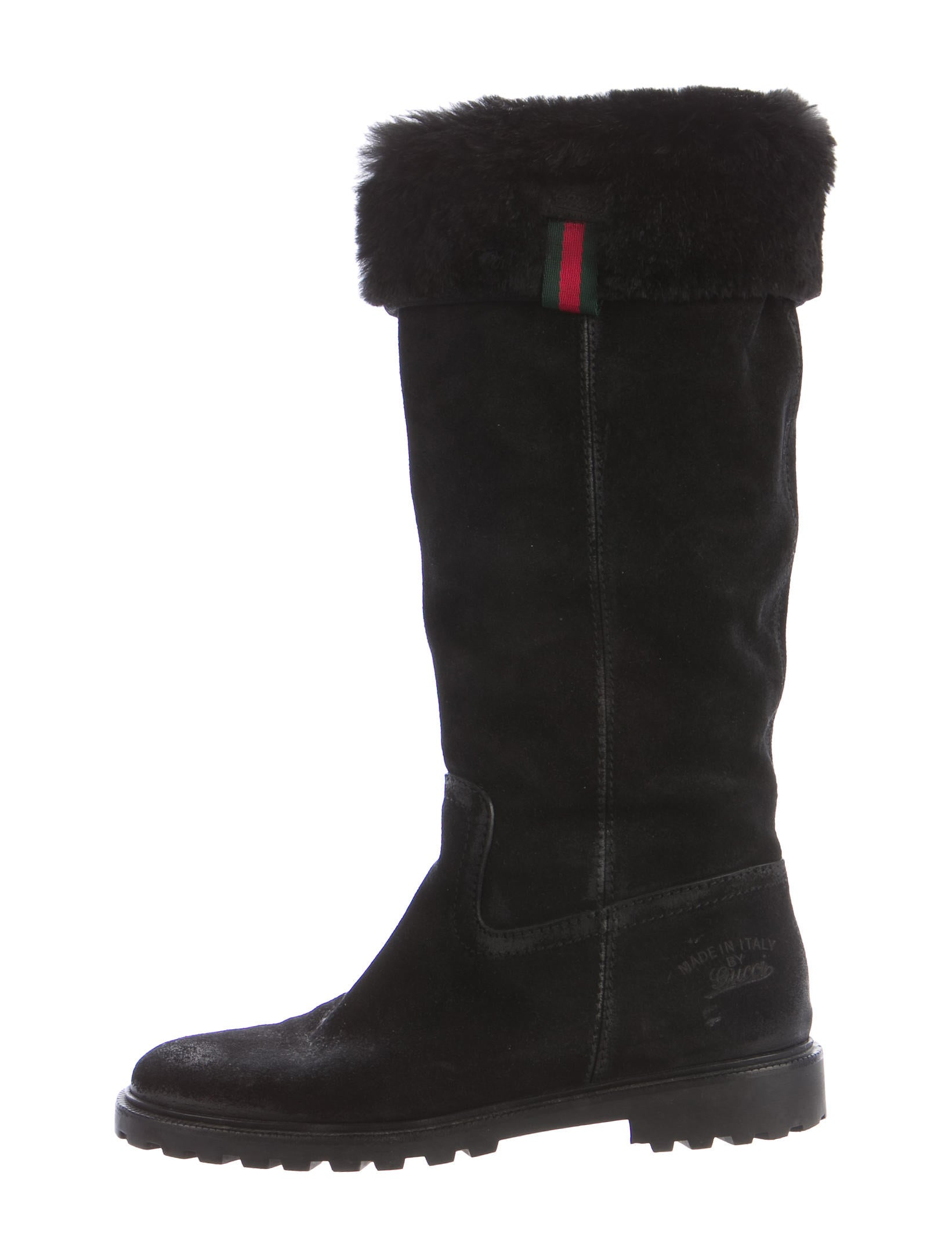 gucci rabbit fur lined knee high boots shoes guc156100