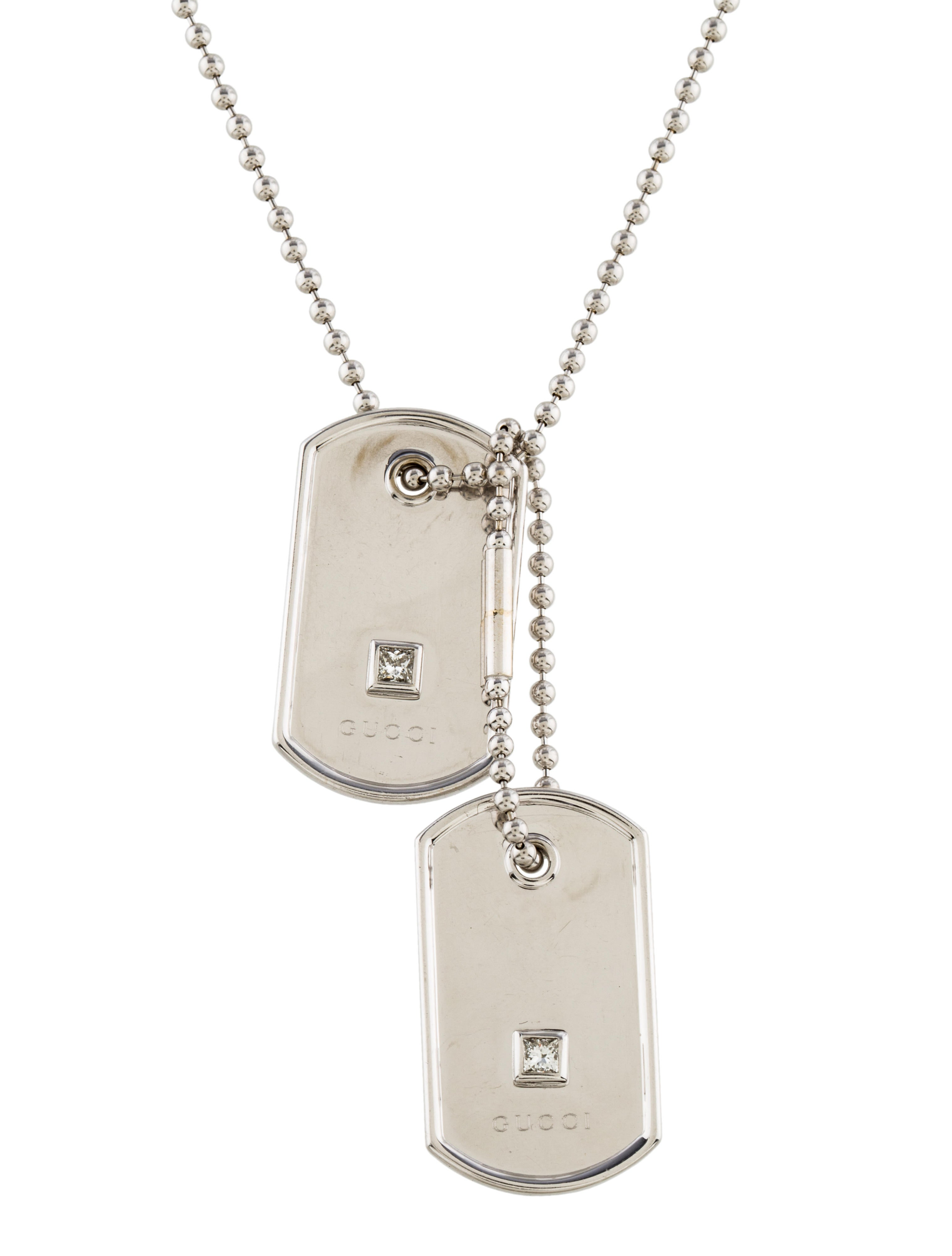 Gucci 18k Diamond Dog Tag Necklace Necklaces Guc156346