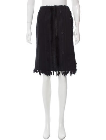 Gucci Fur-Trimmed Knee Length Skirt None
