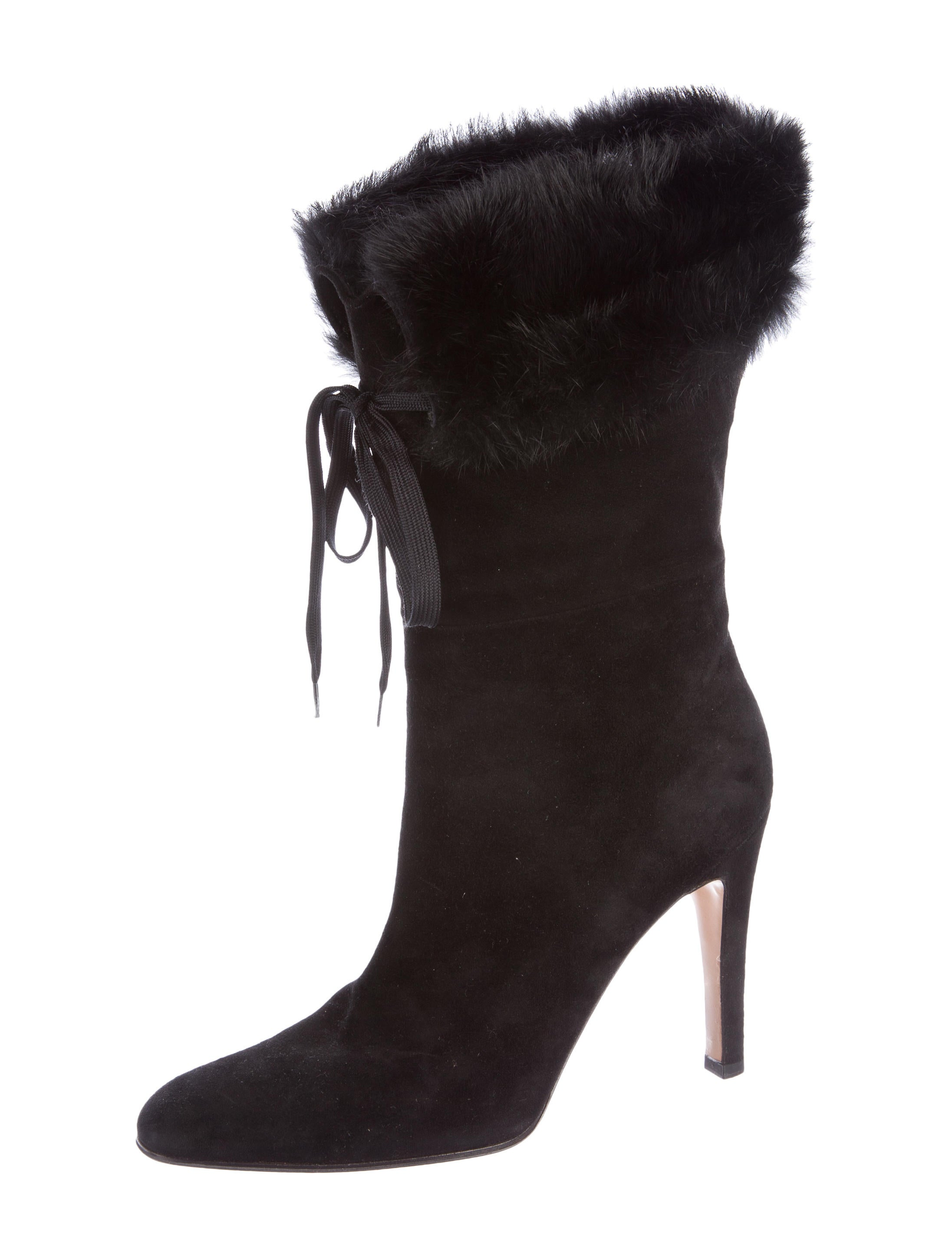 gucci fur trimmed suede boots shoes guc157115 the