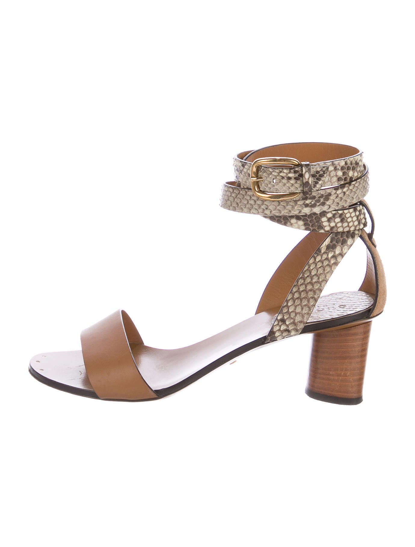 Gucci Snakeskin Trimmed Sandals Shoes Guc157191 The