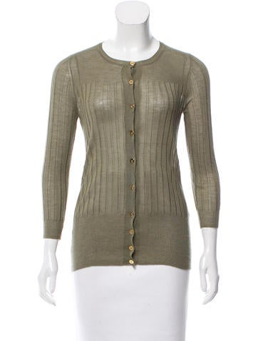 Gucci Cashmere & Silk Rib Knit Cardigan None