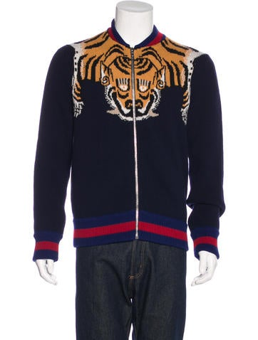 Gucci 2017 Tiger Web Intarsia Sweater None